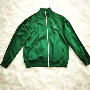 SOLD FRED PERRY TRACK JACKET GREEN SIZE LARGE